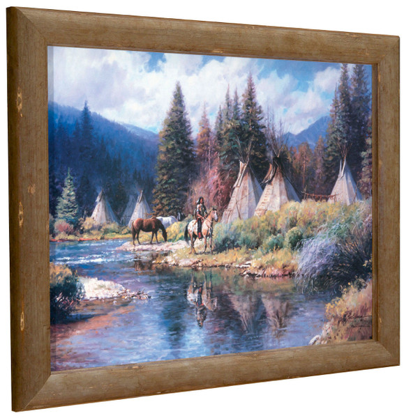 """Martin Grelle """"Camp Along the River"""" Indian Tipis Canvas Framed L/E Signed & Numbered"""
