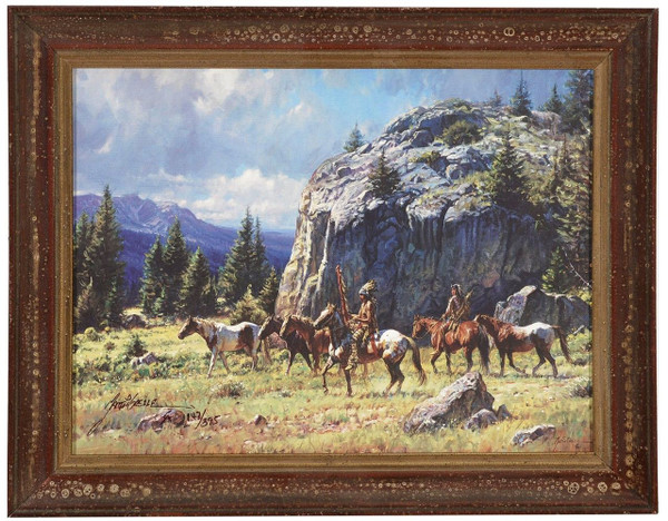 "Martin Grelle ""Warrior's Quest"" Indian Canvas Framed L/E Signed & Numbered"