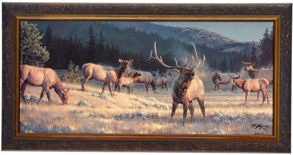 """Nancy Glazier """"Rocky Mountain Meadow"""" Elk Canvas Framed L/E Signed & Numbered"""