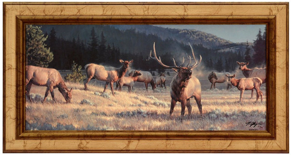 "Nancy Glazier ""Rocky Mountain Meadow"" Elk Canvas Framed Signed Limited Edition"
