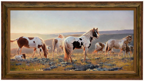 """Nancy Glazier """"Welcome the Dawn"""" Horses Canvas Framed L/E Signed & Numbered"""