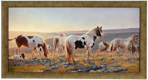 "Nancy Glazier ""Welcome the Dawn"" Horses Canvas Framed Signed and Numbered L/E"