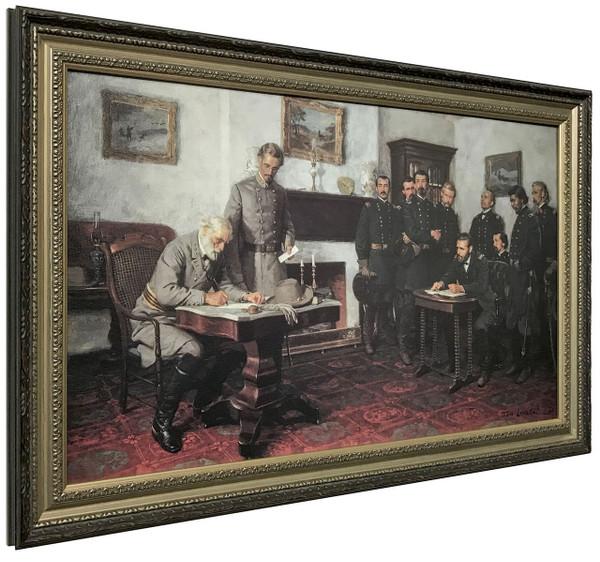 """Tom Lovell """"Surrender at Appomattox"""" Court House Canvas Finish Framed Art O/E"""