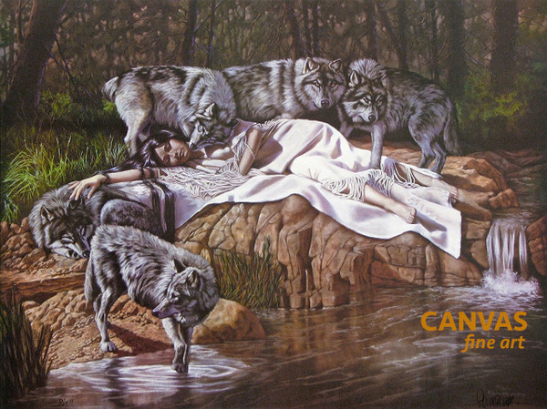 "Penni Anne Cross ""DII-TAH aka The Princess & Her Wolves"" Canvas Art Signed & Numbered L/E"