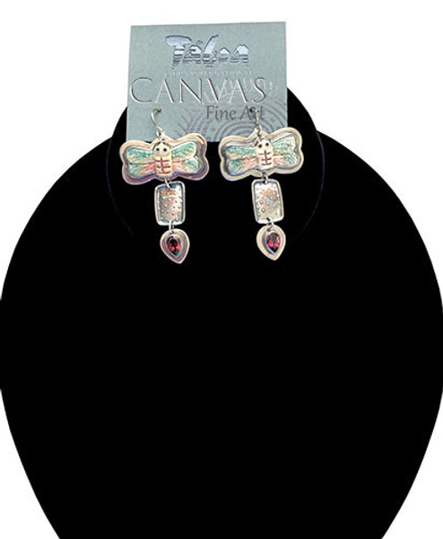 TABRA Earrings Sterling Silver Hand Carved Painted Bone Dragonflies with Garnets