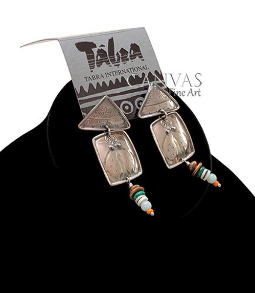 TABRA Earrings Antiqued Sterling Silver African Trading, Oyster Shell, Amazonite, and Coral