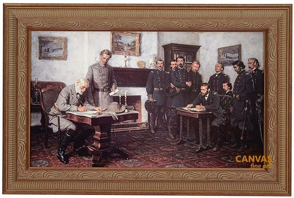 Tom Lovell 'Surrender at Appomattox' Court House Canvas Framed Art O/E