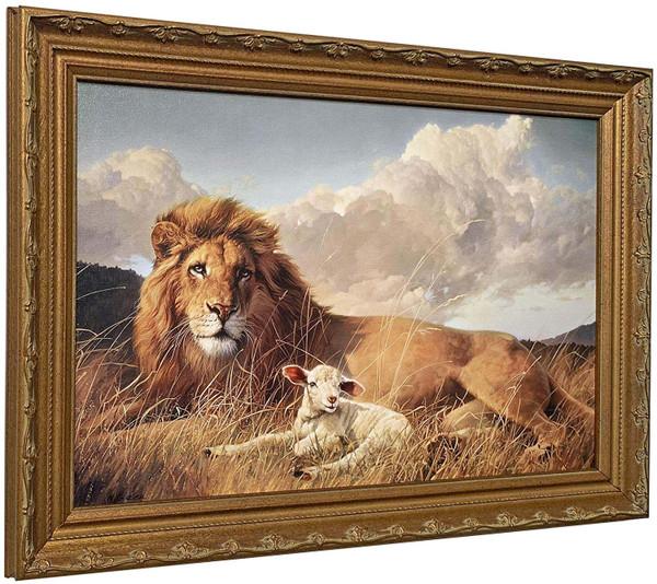 "Nancy Glazier ""Peace & Harmony"" Lion & Lamb Canvas Framed O/E"