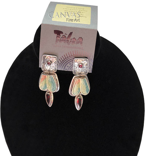 TABRA Earrings Hand-Carved Painted Bone and Garnet Stones Sterling Silver