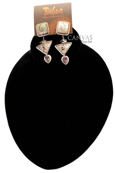 TABRA Earrings Mother of Pearl Amethyst and Garnet Stones Sterling Silver