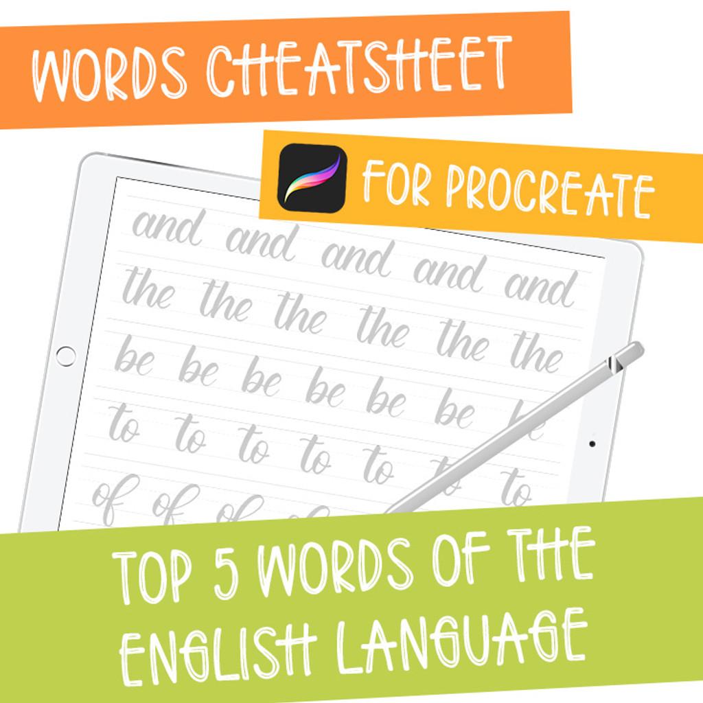 iPad Lettering Cheatsheet - Top 5 Words