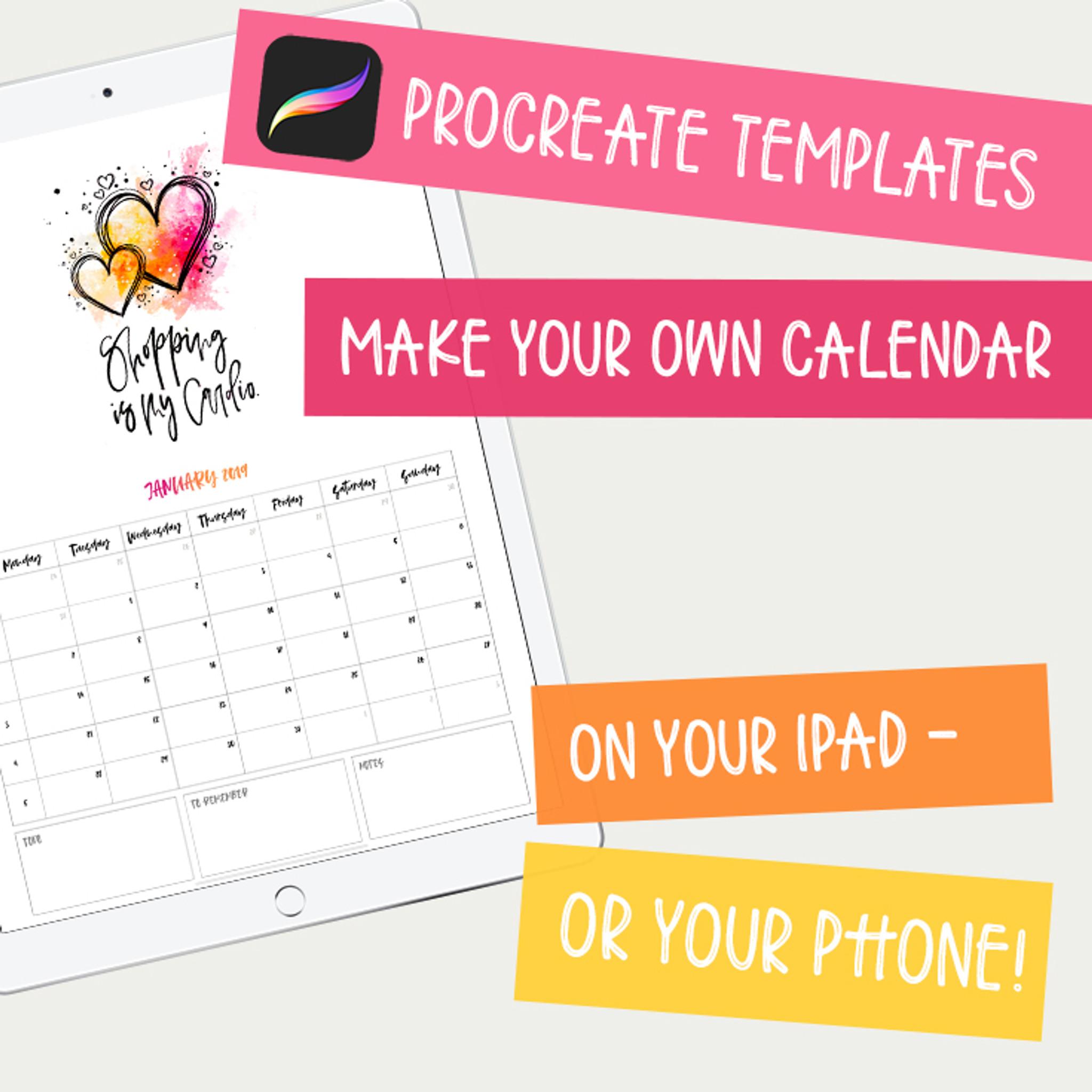calendar maker 2019 ipad lettering