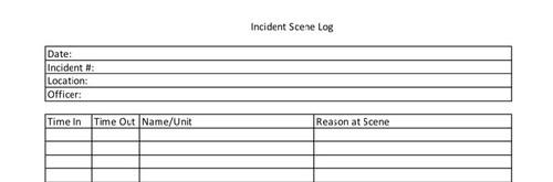 Incident Scene Log