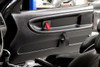 BMW E36 coupe thermoformed lightweight Door Panel Installed with black door pull and HARD Motorsport E36 door pull (TEXTURED FINISH SHOWN)