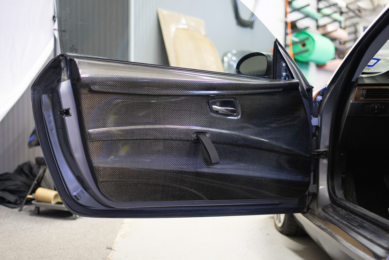 Installed Front Lightweight Door Panel for BMW E92 with Pull Strap and Factory Door Latch