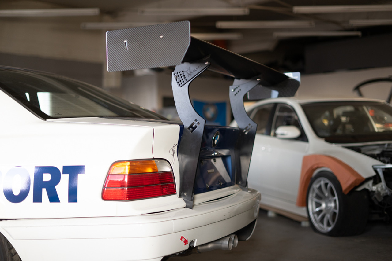 """Nine lives racing 66"""" Spoiler mounted on our E36 with our upright kit"""