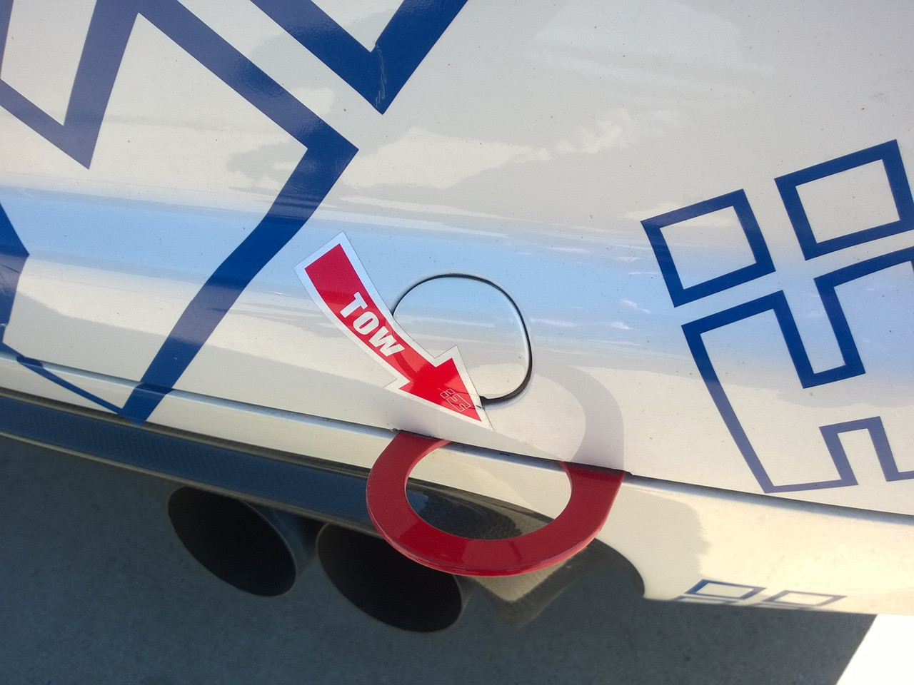 Hard Motorsport Tow Hook Arrow Sticker shown with our Retractable Tow Hook on E46 M3