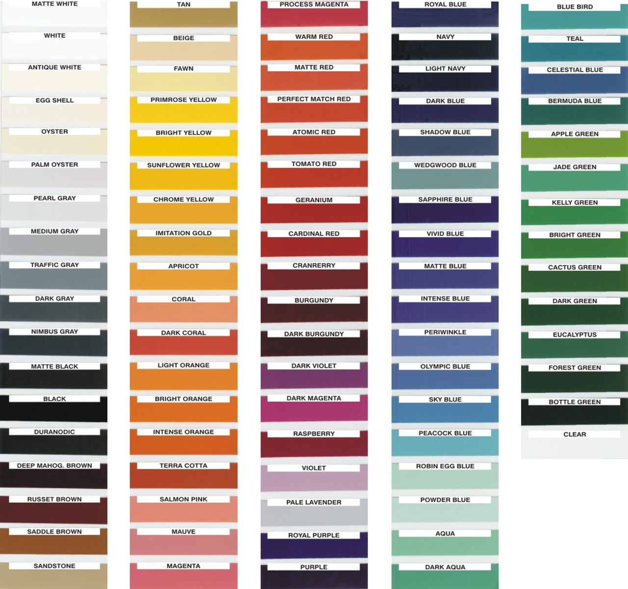 Various possible options for custom colors PLEASE USE THESE NAMES WHEN YOU ORDER.