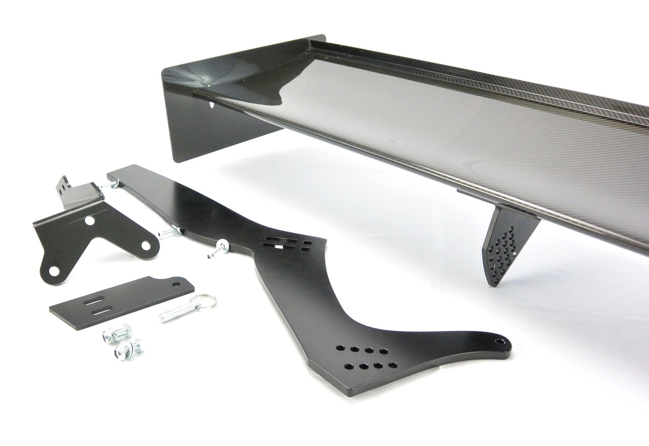 BMW E46 Sedan Spoiler Trunk Mounts to ensure proper downforce through the chassis. Showing components for one single side (shown with optional APR carbon fiber rear Spoiler)