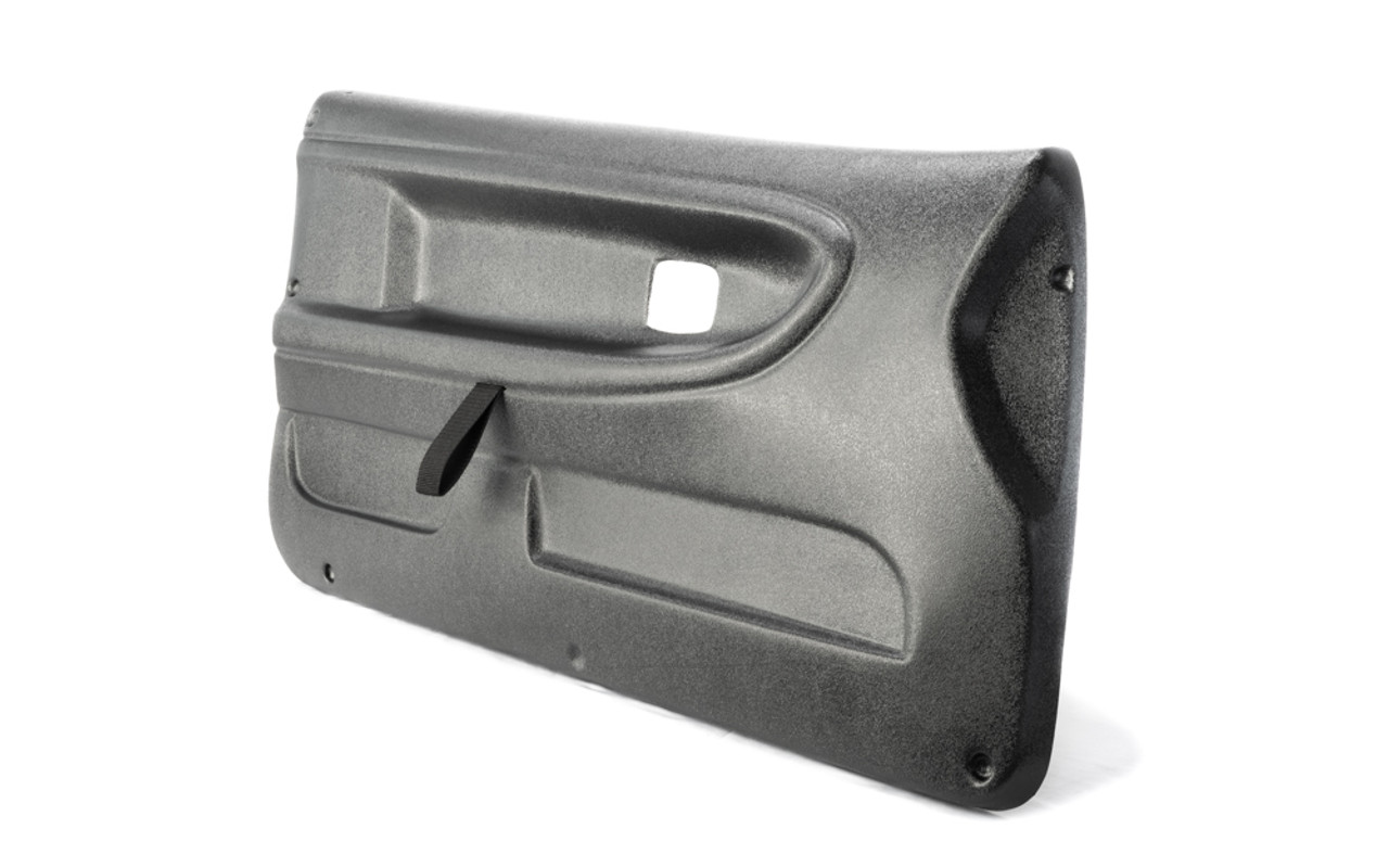 BMW E36 right side Door Panel with installed door pull strap. Shown in textured finish.