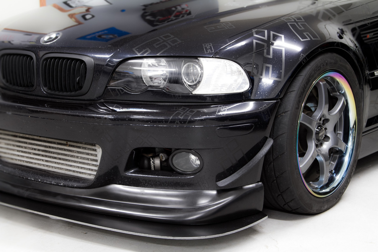 Left side Dive Plane / Aero Canard on a customers BMW E46 with a HARD Motorsport Front Splitter