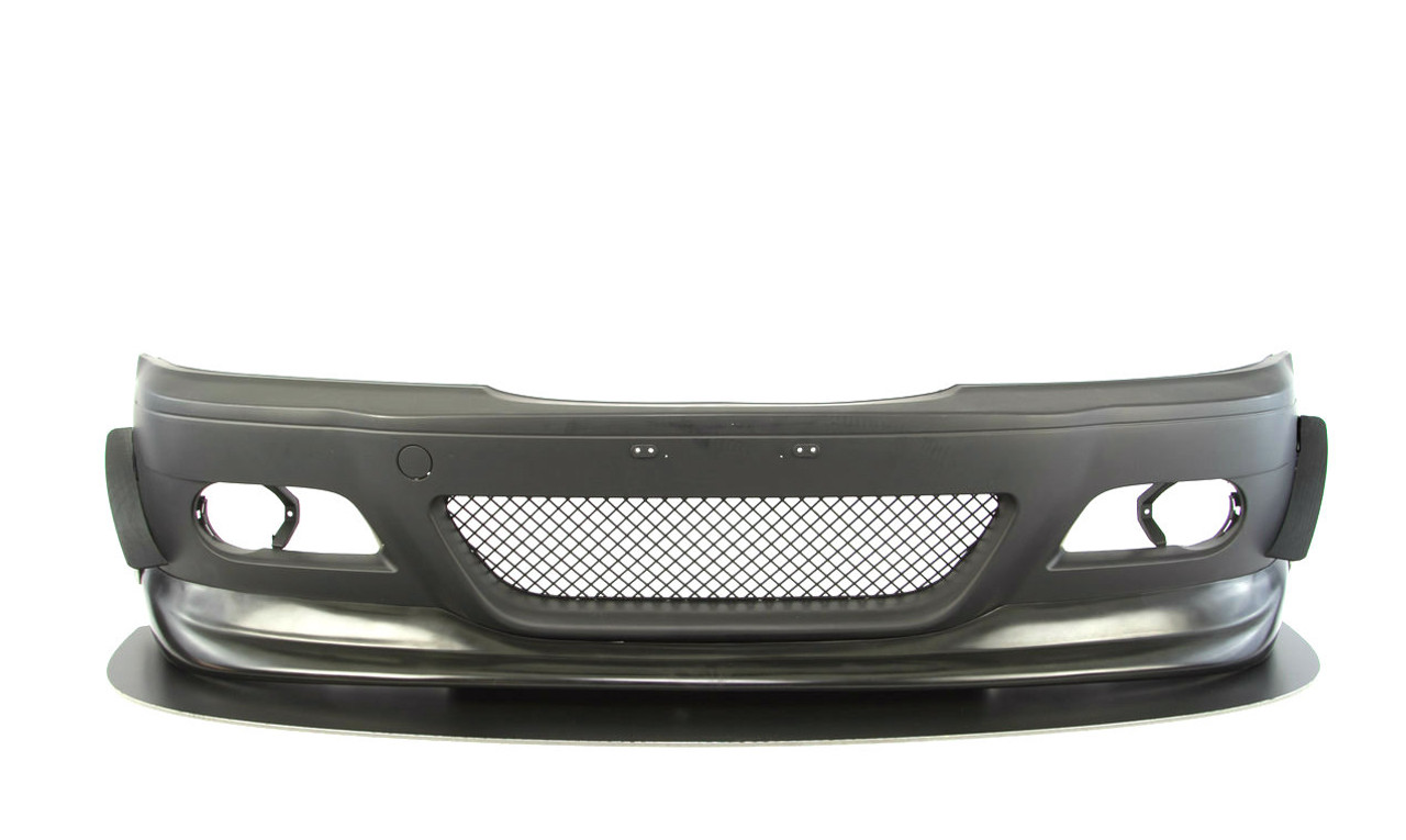 Left and right Dive planes / Aero Canards shown installed on a E46 M3 style front bumper cover for BMW
