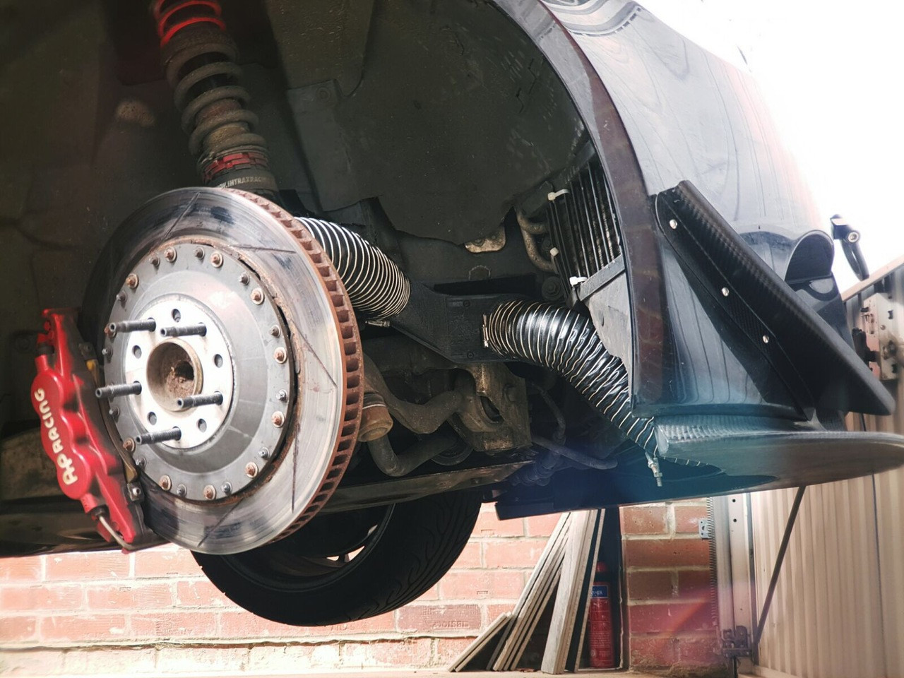 BMW E9X M3 Brake Cooling Duct Race Kit installed