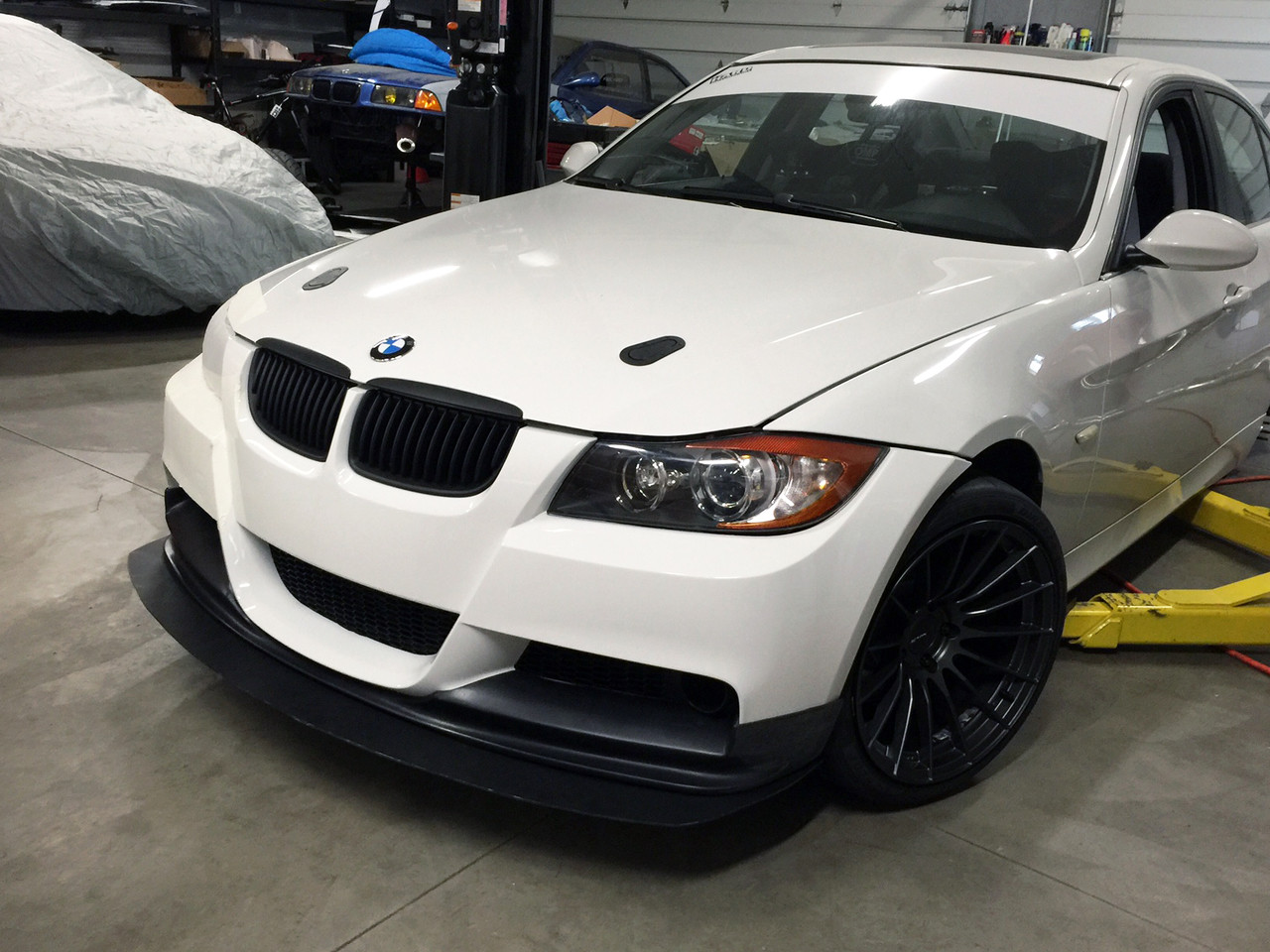 BMW E9x M3 Front Splitter Shown Installed on our HARD Motorsport race car  w/ M-TECH FRONT BUMPER