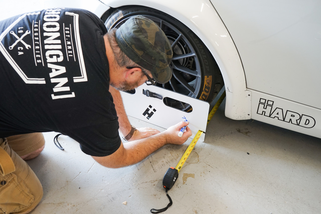 Dry erase marker for writing measurements on your HARD Motorsport Toe Boards