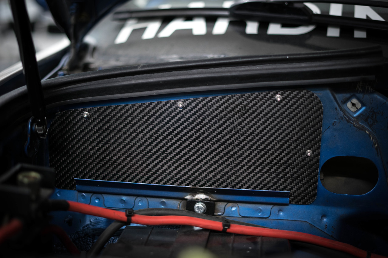 HARD MOTORSPORT CARBON FIBER E36 ECU ACCESS PANEL COVER INSTALLED