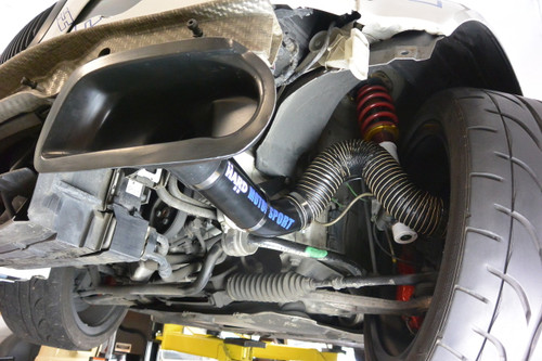 E46 BMW Brake Cooling Duct Race Kit installed on the left side.