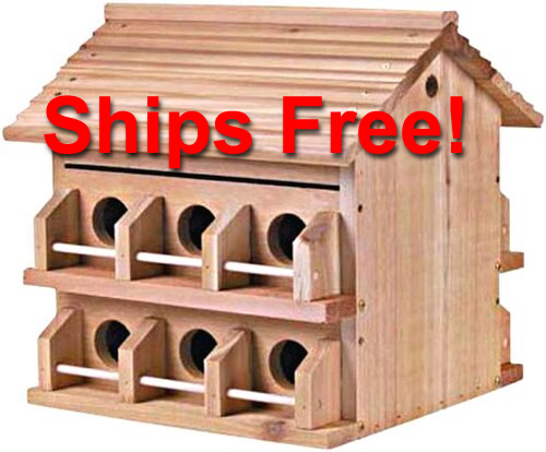 Ships Free! M-12DP Heath Deluxe 12 Room Cedar Purple Martin House