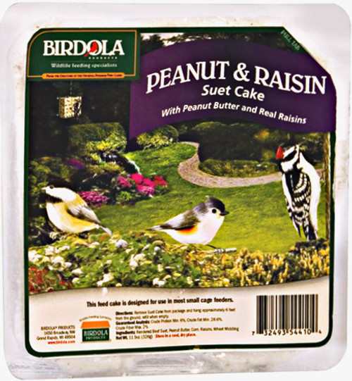 Birdola Peanut and Raisin Suet Cake 12Pk