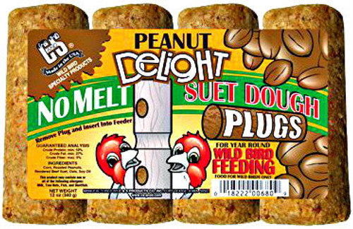 C&S No-Melt Peanut Delight Suet Plugs 12Pk