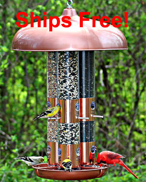 Perky-Pet® Copper Finish Triple Tube Bird Feeder 7103-2