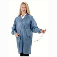 HOC-23C-L  |  Hallmark Collar, OFX-100 Fabric, Knee-Length Coat, Blue, 3 Pockets, L, ESD Grid-Knit Grounding Cuffs