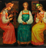 Three Fair Maidens by the Window Fedoskino Lacquer Box