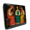 Three Fair Maidens by the Window Fedoskino Lacquer Box side angle