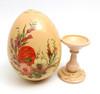 Zhostovo painted Easter Egg with stand (Жостовская роспись)