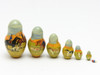 20 piece set of Russian nesting matryoshka dolls with Borzois on the hunt