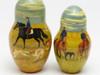 20 piece set of Russian nesting matryoshka dolls with Borzois on the hunt