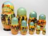 Pershinskaya Okhota Borzoi. Set of 9 Russian nesting matryoshka dolls.