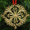 """Снежинка"" (SnowFlake) Russian Gold Plated Filigree Christmas Ornament"