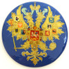 Russian Lacquer Double-Headed Eagle Pin - Bright Blue [Hand Painted]