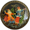 Russian  Lacquer Christmas Brooch