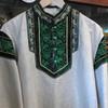 Russian Linen Shirt Embroidered Emerald Green
