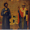 St. Simeon the Wonderworker (The Righteous) of Verkhoturye with St. Nicholas the Wonderworker depicted in front of Nikolayevsky Monastery of Verkhoturye