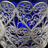 Russian filigree basket with cobalt glass insert