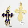 Small Blue Enamel Cross Front and Back