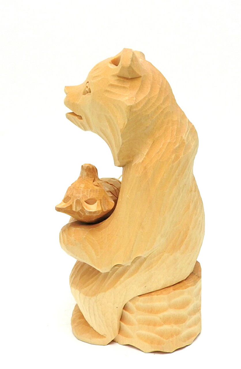Mother Bear and Cub (Мать и Медвежонок) Bogorodsk Carving side view